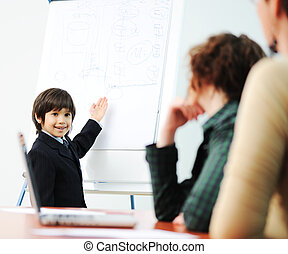 Genius kid on business presentation