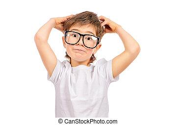 genius kid - Thoughtful smart boy wearing big glasses....