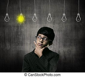 Genius Little Boy Wearing Glasses, Bulbs Of Ideas Are Hanging