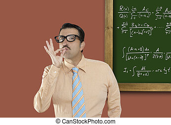 Genius nerd glasses silly man board math formula