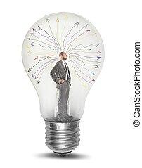 Genius - Concept of genius businessman tkinking in a light...