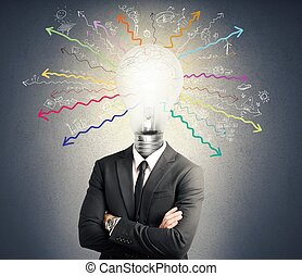 Genius - Concept of genius with illuminated light bulb in...
