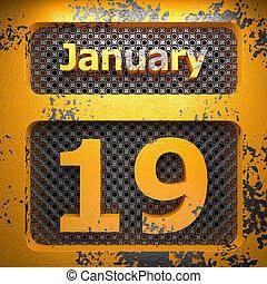gennaio, 19, acciaio, dipinto