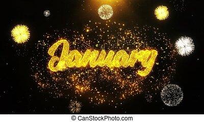 gennaio, auguri, saluti, scheda, invito, celebrazione,...