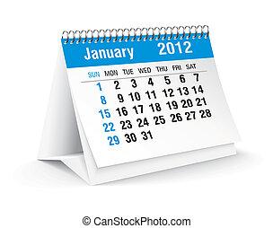 gennaio, calendario, 2012, scrivania