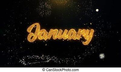 gennaio, scritto, oro, particelle, che esplode, mostra...