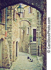 Genoa Caruggio retro look - Caruggio of Genoa narrow streets...
