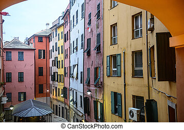 Genoa (Genova, Liguria, Italy), typical colorful houses in...