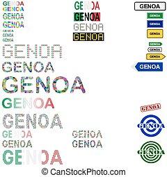 Genoa (Genova) text design set