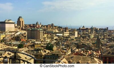 Genoa, Italy - AUGUST, 2019: Pan view of the city from...