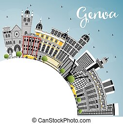 Genoa Italy City Skyline with Color Buildings, Blue Sky and...