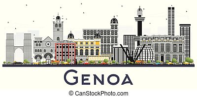 Genoa Italy City Skyline with Color Buildings Isolated on...