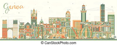 Genoa Italy City Skyline with Color Buildings. Vector...