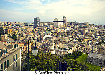 Genoa - Italy, panorama of the city center