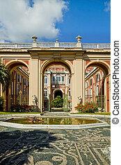 Genoa, Italy - Royal Palace portal and facade from the garden