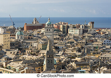 The characteristic old houses in Genoa
