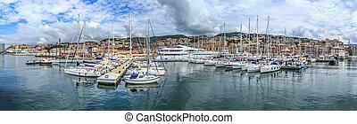 Genoa port panoramic sea view