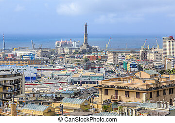 Genoa port sea view with Lanterna