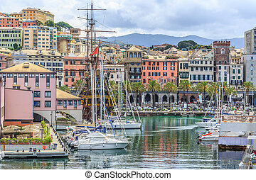 Genoa port sea view with yachts panoramic
