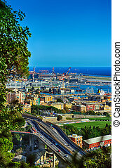Genoa port view from above, Italy