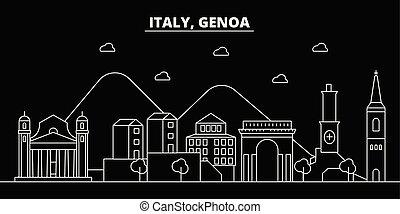 Genoa silhouette skyline. Italy - Genoa vector city, italian linear architecture, buildings. Genoa travel illustration, outline landmarks. Italy flat icons, italian line banner