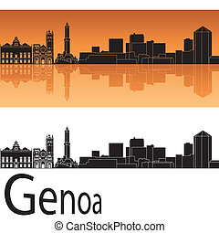 Genoa skyline in orange background in editable vector file