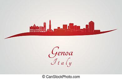 Genoa skyline in red