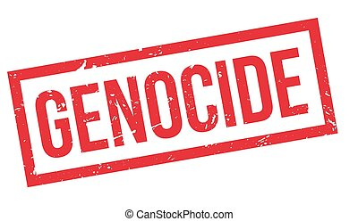 Genocide rubber stamp on white. Print, impress, overprint.