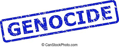 Blue GENOCIDE seal stamp on a white background. Flat vector textured seal stamp with GENOCIDE caption is inside rounded rect frame. Watermark with distress style.