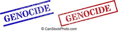 Grunge GENOCIDE rubber stamps in red and blue colors. Seals have rubber surface. Vector rubber imitations with GENOCIDE text inside rectangle frame, or parallel lines.