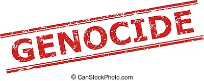 Red GENOCIDE watermark on a white background. Flat vector grunge seal with GENOCIDE phrase inside double parallel lines. Watermark with grunge style.