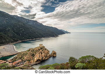 Genoese tower and beach at Porto in Corsica
