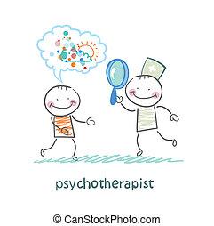 genom glas, tålmodig, förstorar, se, drömmar, psykoterapeut