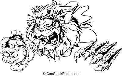 genombrott, klo, lejon