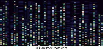 Genomic analysis visualization. Dna genomes sequencing,...