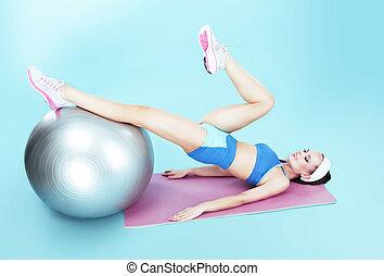 genomkörare, kvinna, exercerande, boll,  fitness, aktiv