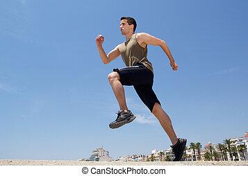 genomkörare, utanför, spring, aktiv, Övning,  man