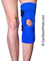 genou, blessure, après, attache