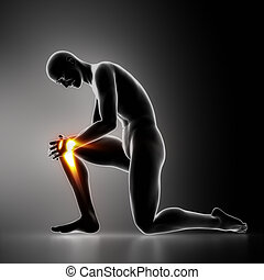 genou, blessure, concept