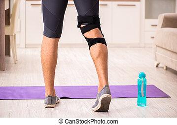 genou, blessure, récupération, s'exercer homme