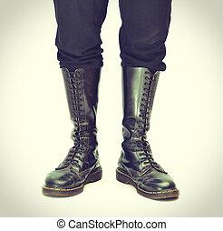 genou-haut, 20, vendange, lace-up, -, bottes, paire, proces,...