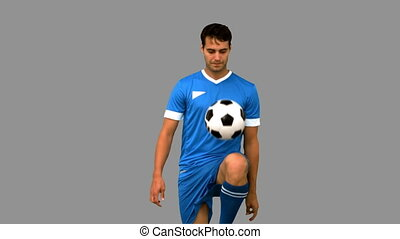 genou, sien, jonglerie, football, homme
