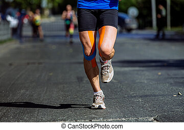 genoux, athlète, mâle, kinesio, enregistrer