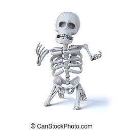 genoux, sien, implore, squelette, 3d