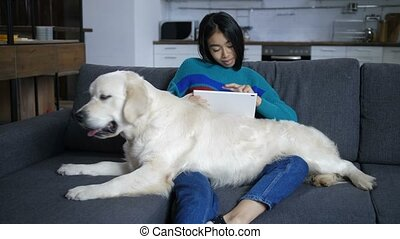 genoux, tablette, regarder, chien, mensonges, indien, propriétaire