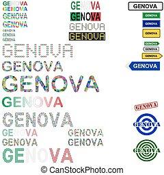 Genova (Genoa) text design set - writings, boards, stamps