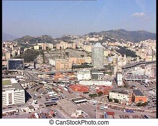 GENOVA harbor long shot lr pan - Panoramic view of the...