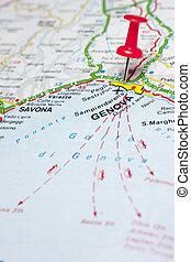 Genova italy Map - Red push pin pointing at Genova Italy map