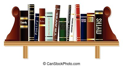 A collection of books on a bookshelf each of a different genre