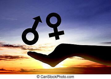 genre, projection, égal, femelle transmet, mâle, ouvert, symbole